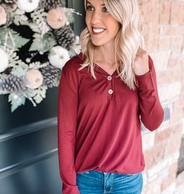 Maddie Wine Button Top