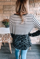 Black Leopard Color Block Top