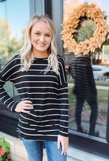 Ava Black Striped Top