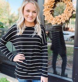 Ava Black Striped Top