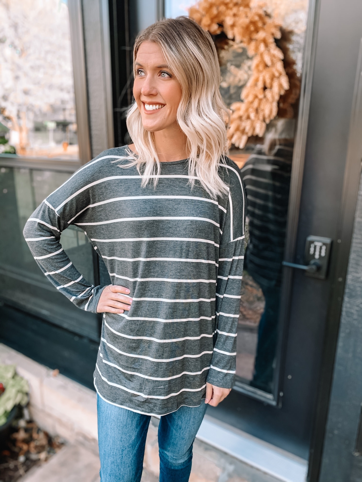 Ava Charcoal Striped Top