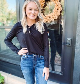 Maddie Black Button Top