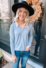 Maddie Grey Button Top