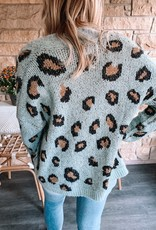 Mint Cropped Leopard Cardigan