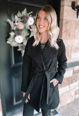 Emery Black Belted Coat
