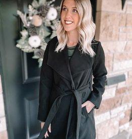 Emery Black Belted Coat