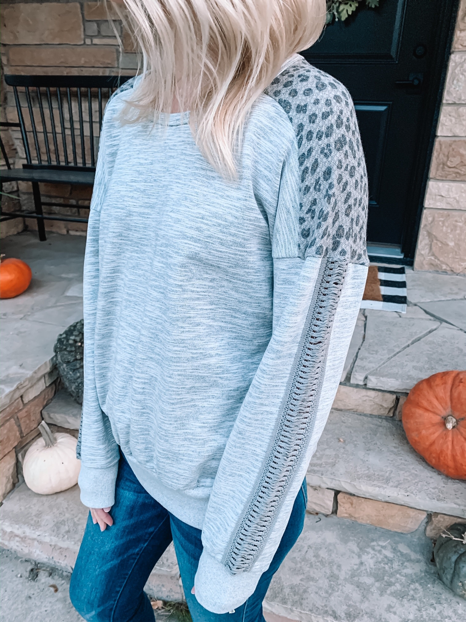 Grey Leopard Crew Neck