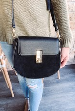 Black Leather/Suede Crossbody