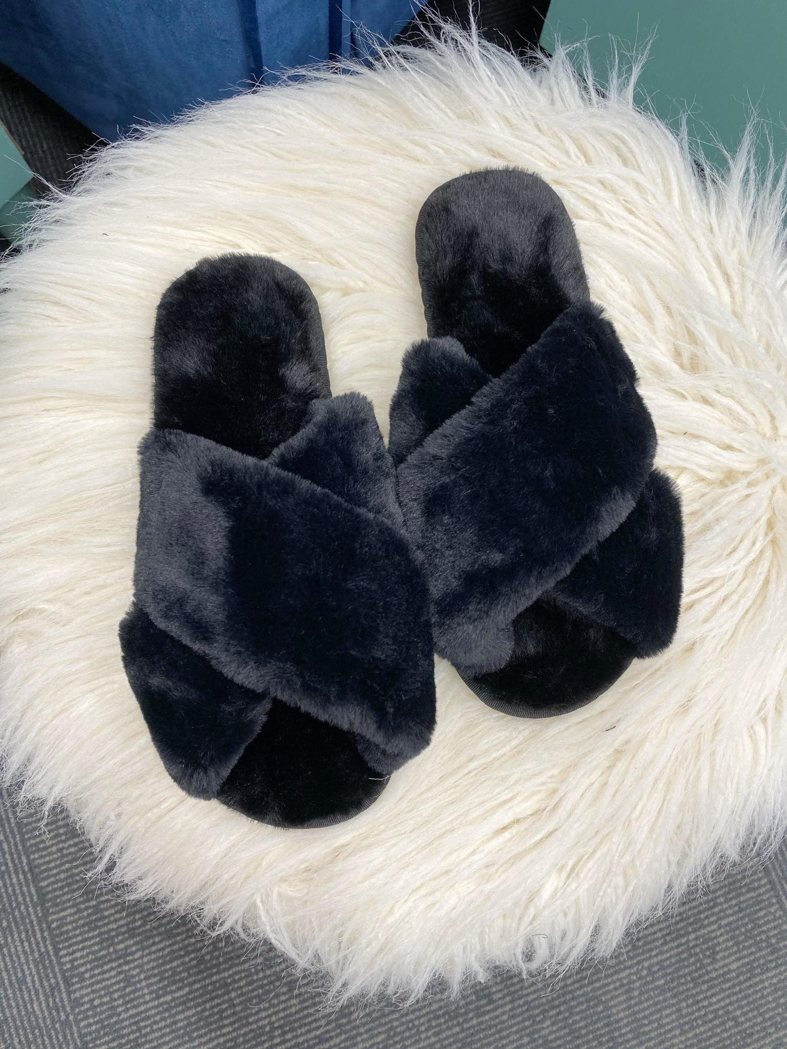 Cora Black Fuzzy Slippers