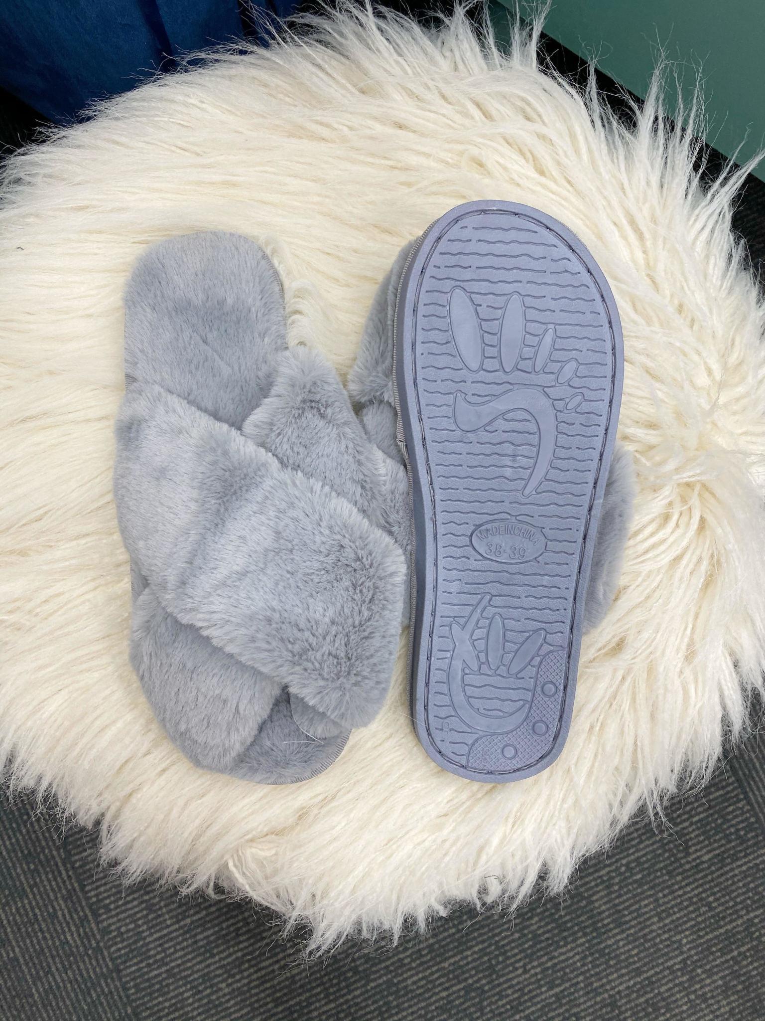Cora Gray Fuzzy Slippers