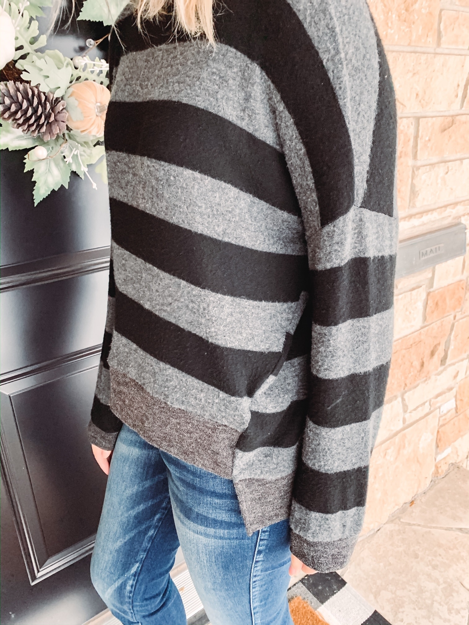 Haven Black/Grey Striped Sweater