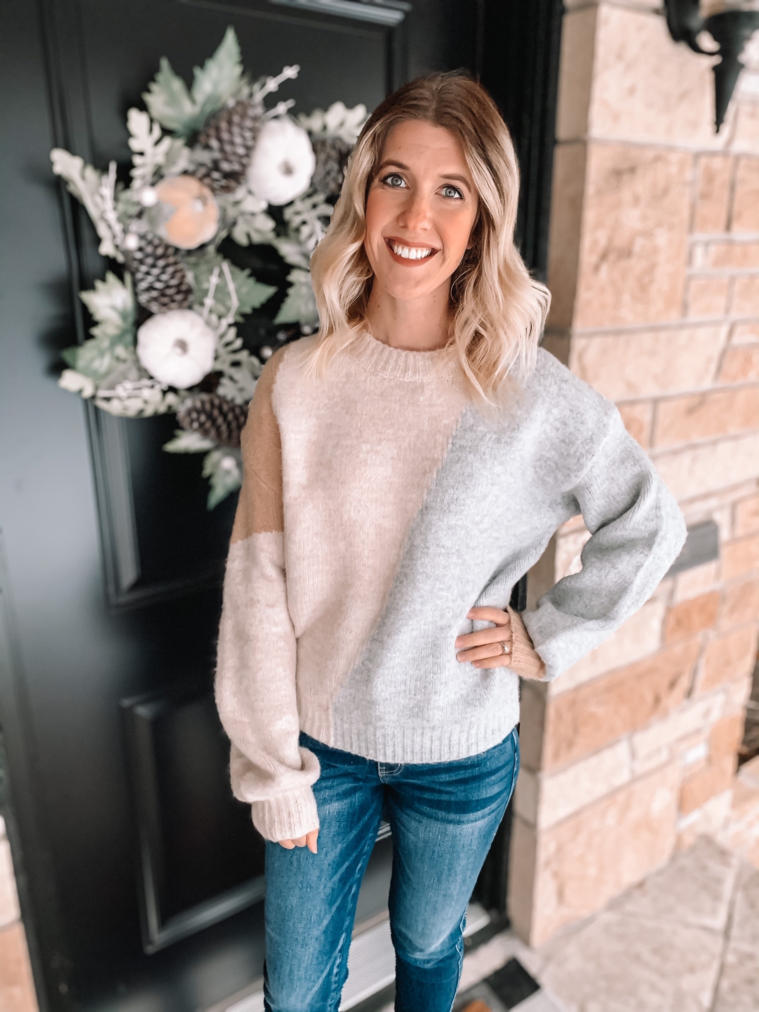 Blush + Grey Color Block Sweater
