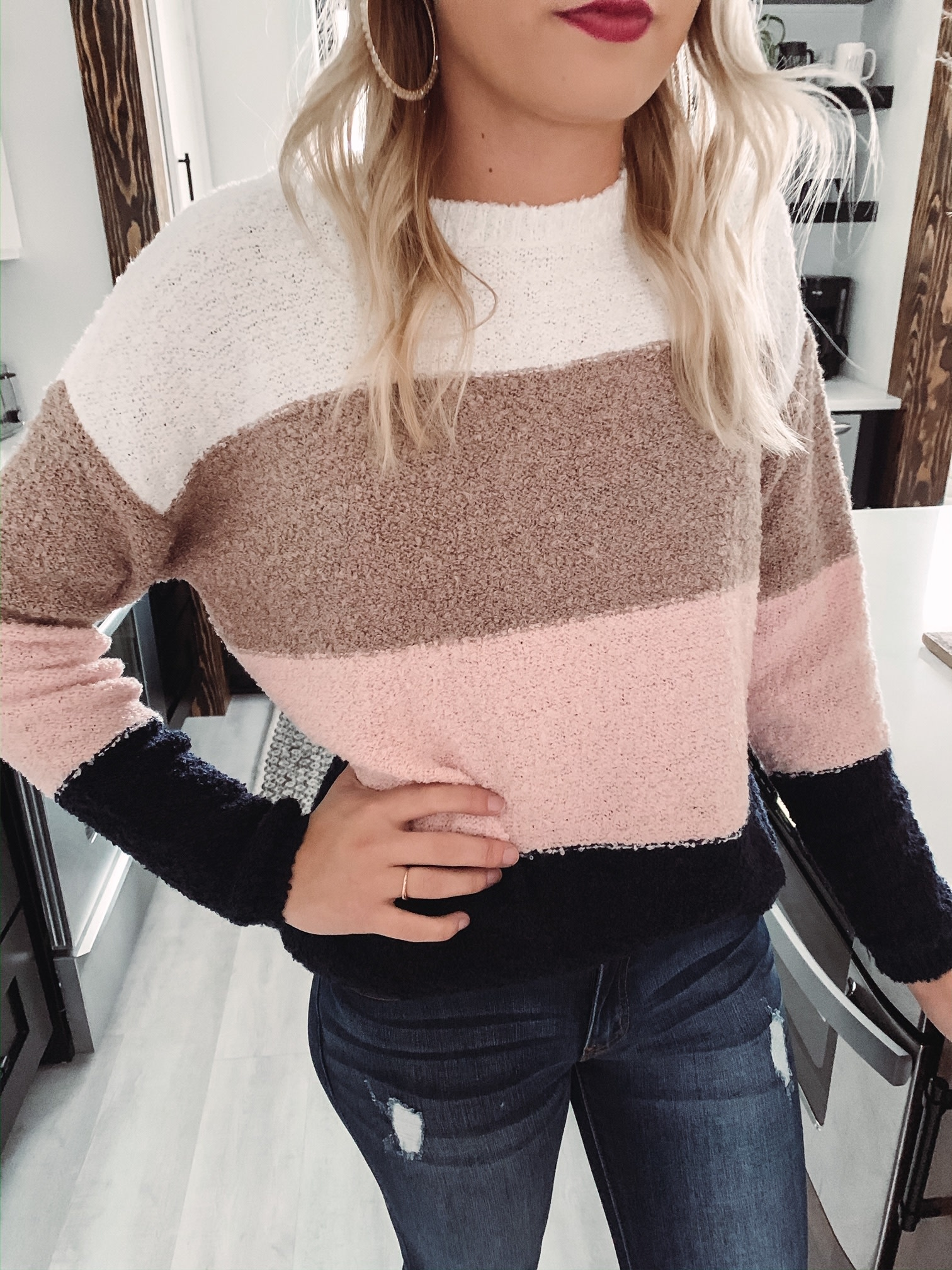Alexis Blush Colorblock Sweater