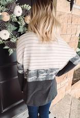 Grey Camo Color Block Long Sleeve