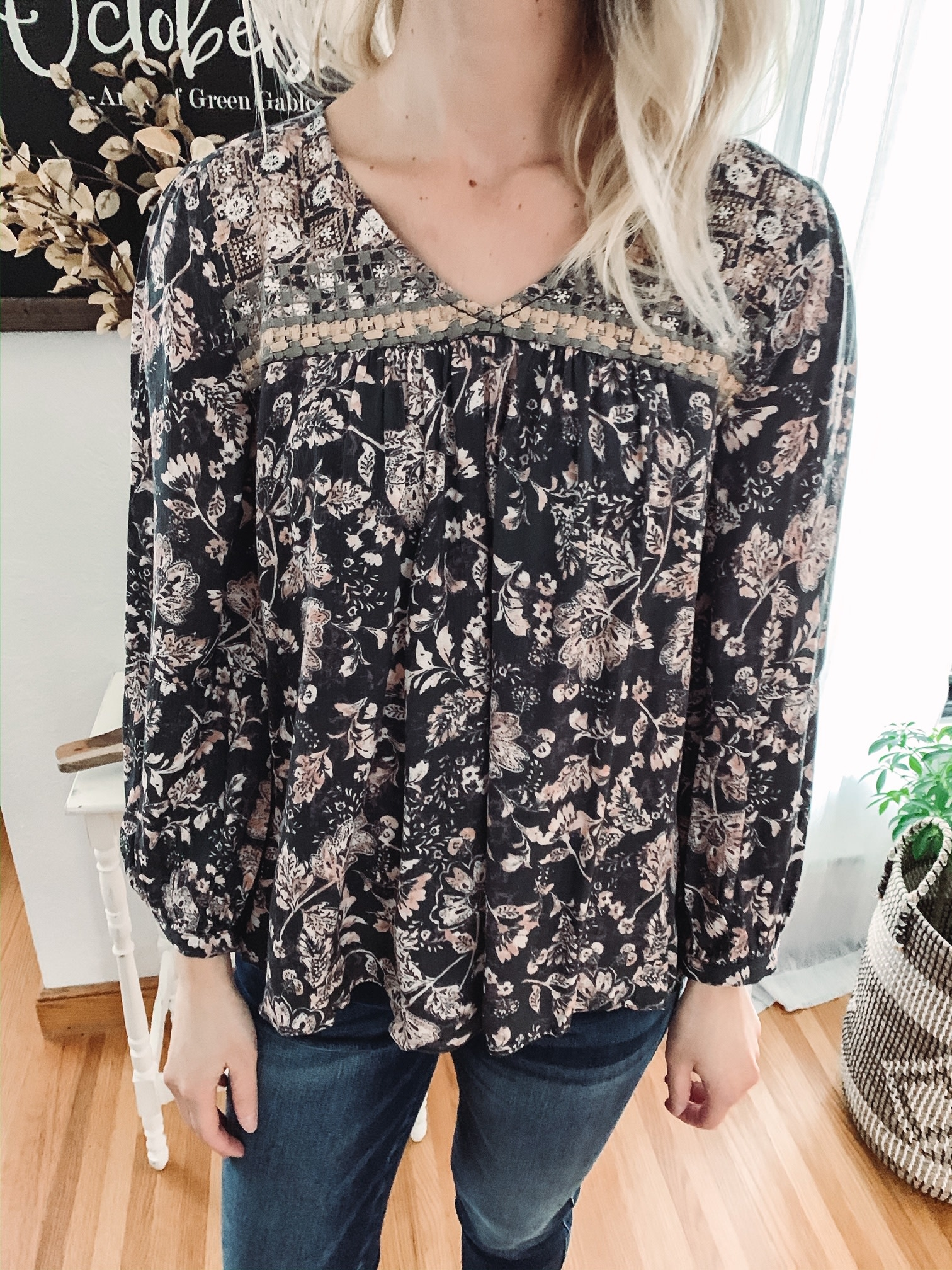 Washed Out Floral Blouse
