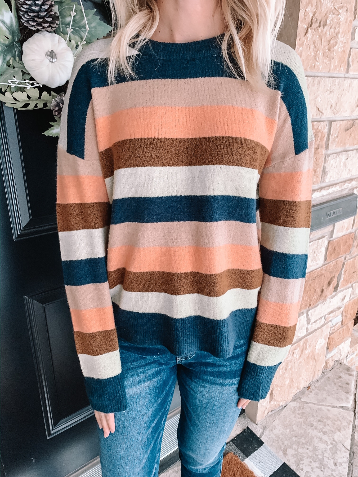 Multi Stripe Patch Sleeve Sweater