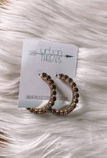 Maya Black Beaded Hoop Earrings