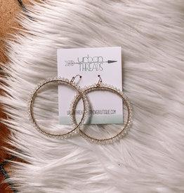 Clear Beaded Hoop Earrings