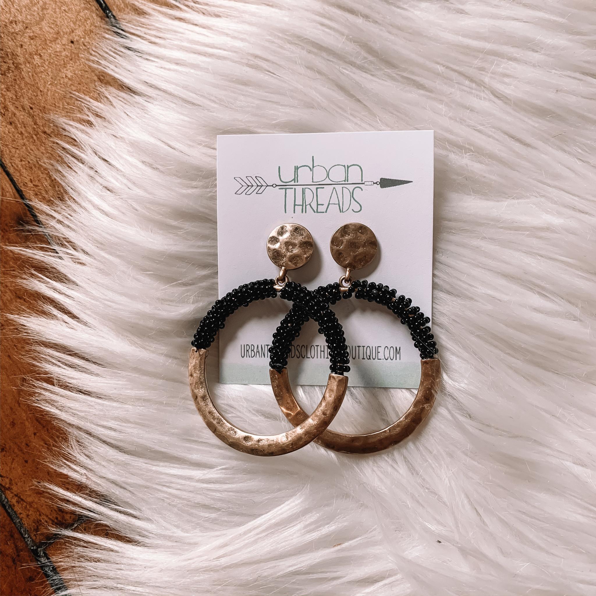Black Beaded Dangle Drop Earrings