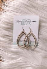 Teardrop Clear Beaded Earrings
