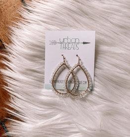Teardrop Clear Beaded Earrings