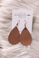 Mauve Teardrop Leather Earrings