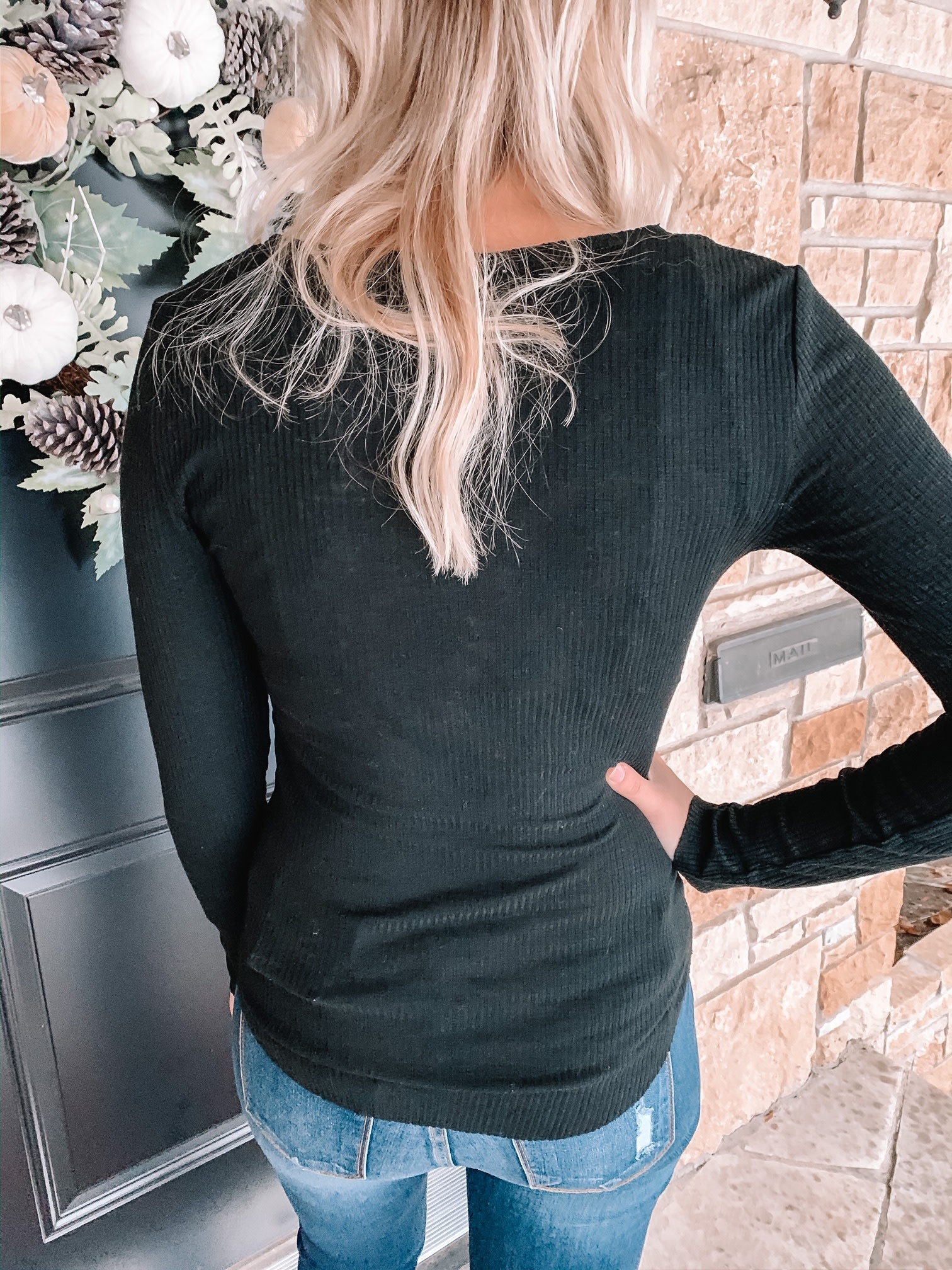 Layla Black Ribbed Top