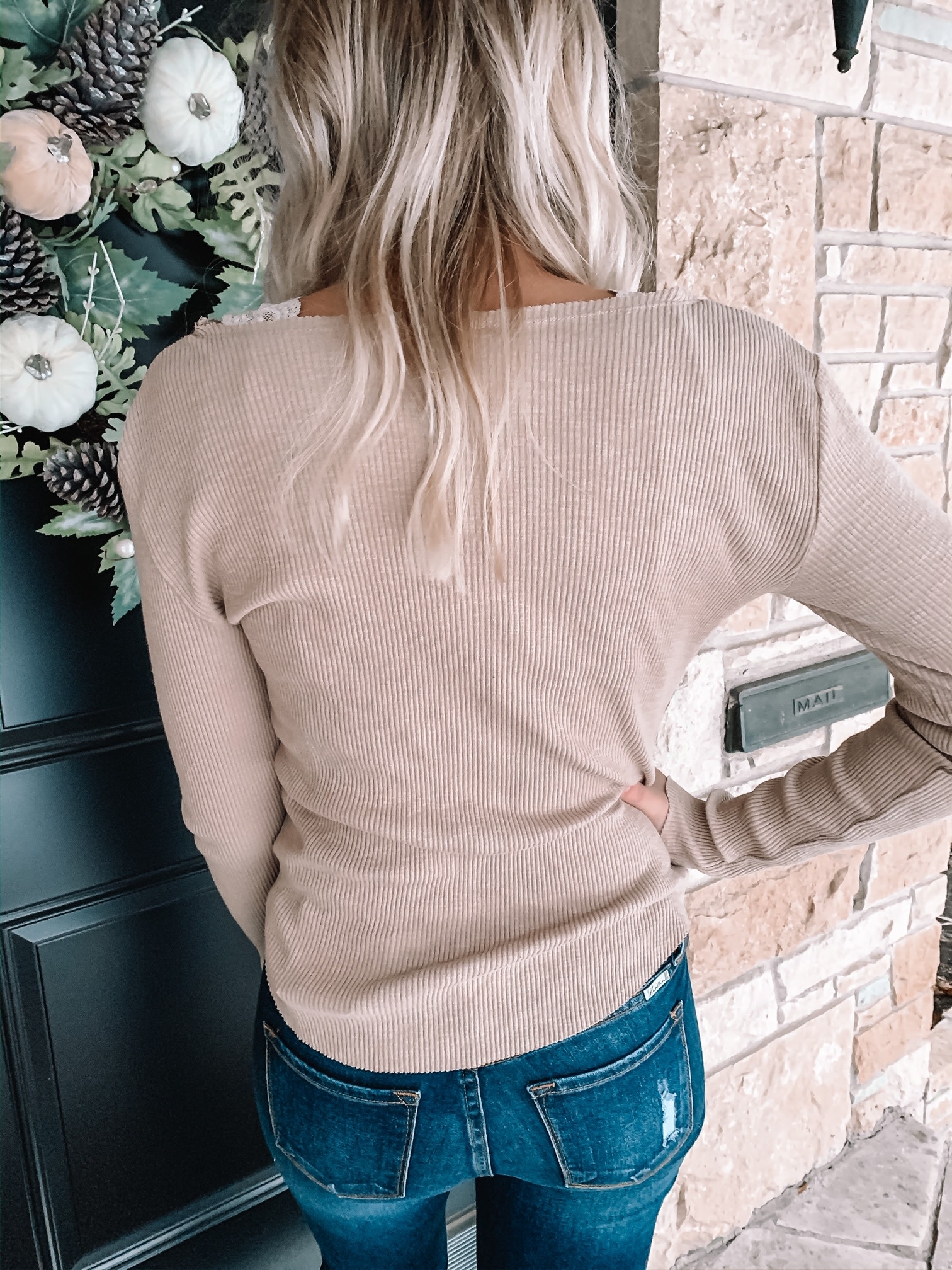 Layla Taupe Ribbed Top