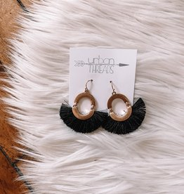 Black Tassel Fan Drop Earrings