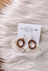 Ivory Tassel Fan Drop Earrings