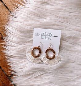 Ivory Tassel Fan Drop Earrings