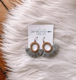 Gray Tassel Fan Drop Earrings