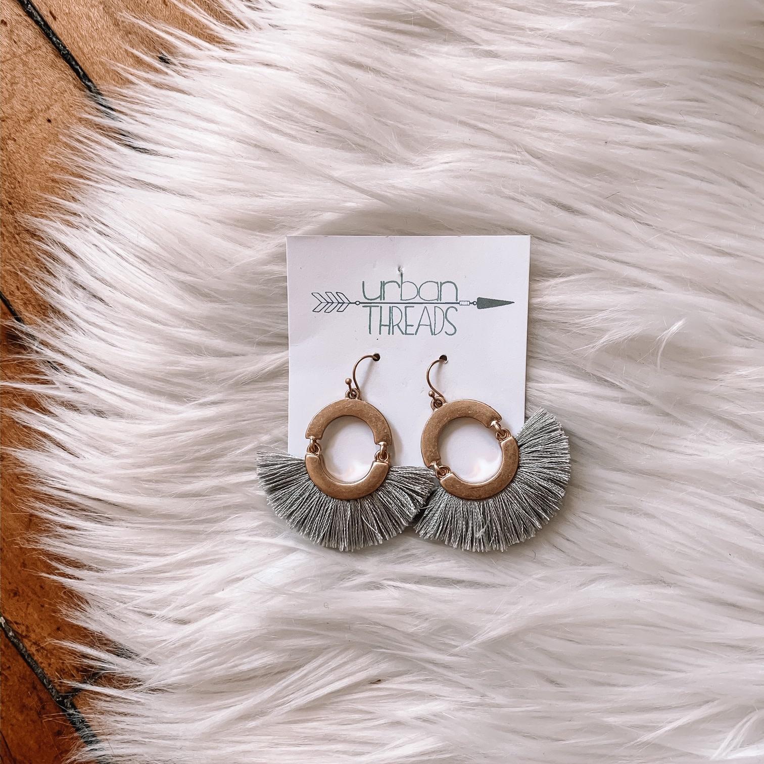 Gray Tassel Fan Drop Earrings