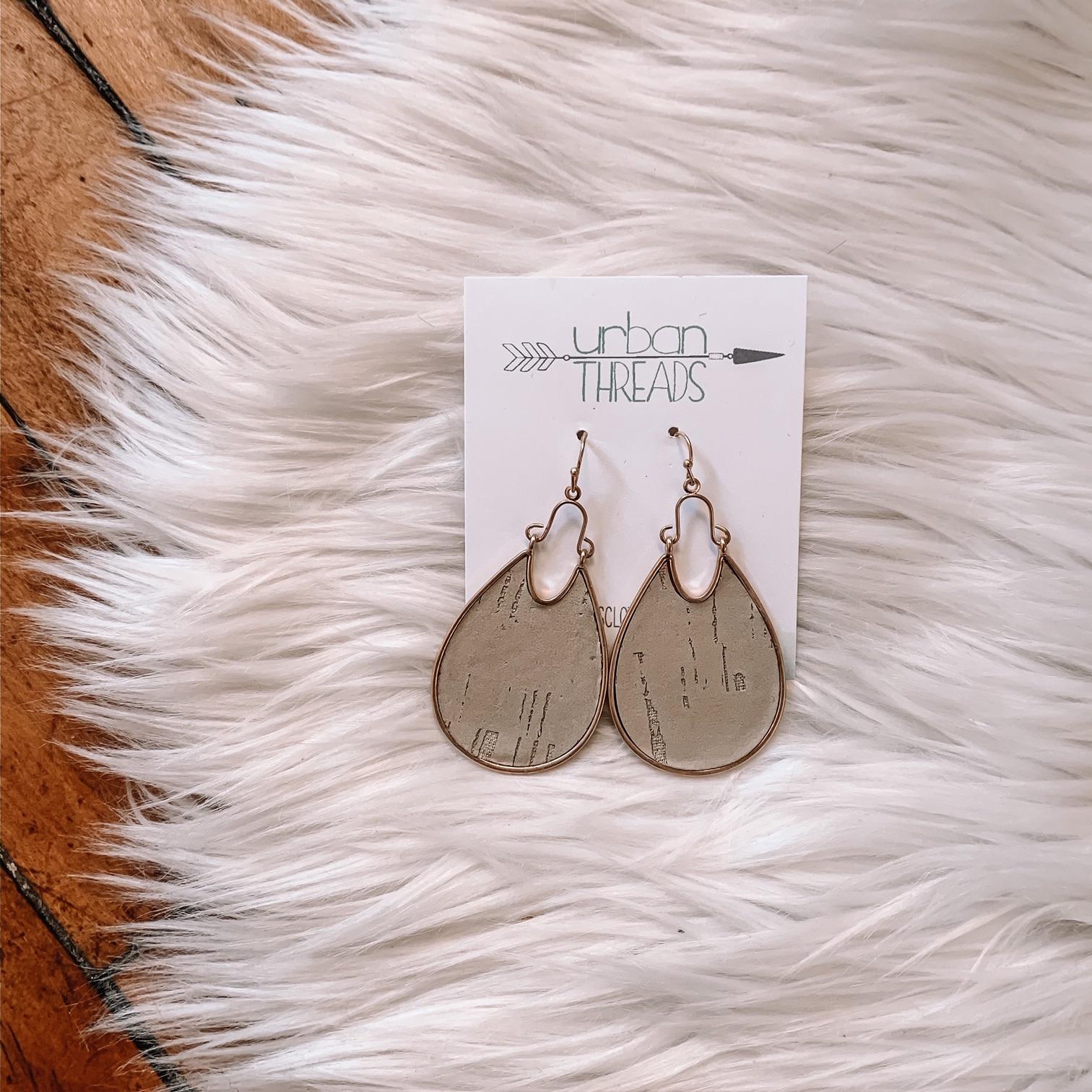 Taupe Cork Metal Earrings
