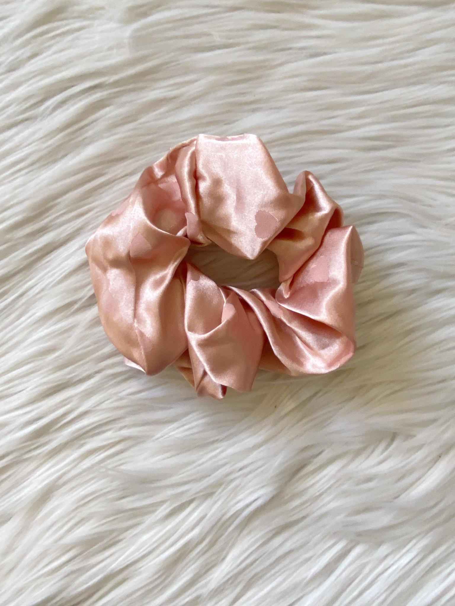 Satin Pink Heart Scrunchie