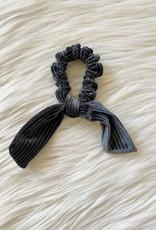 Charcoal Shimmer Velvet Tie Scrunchie