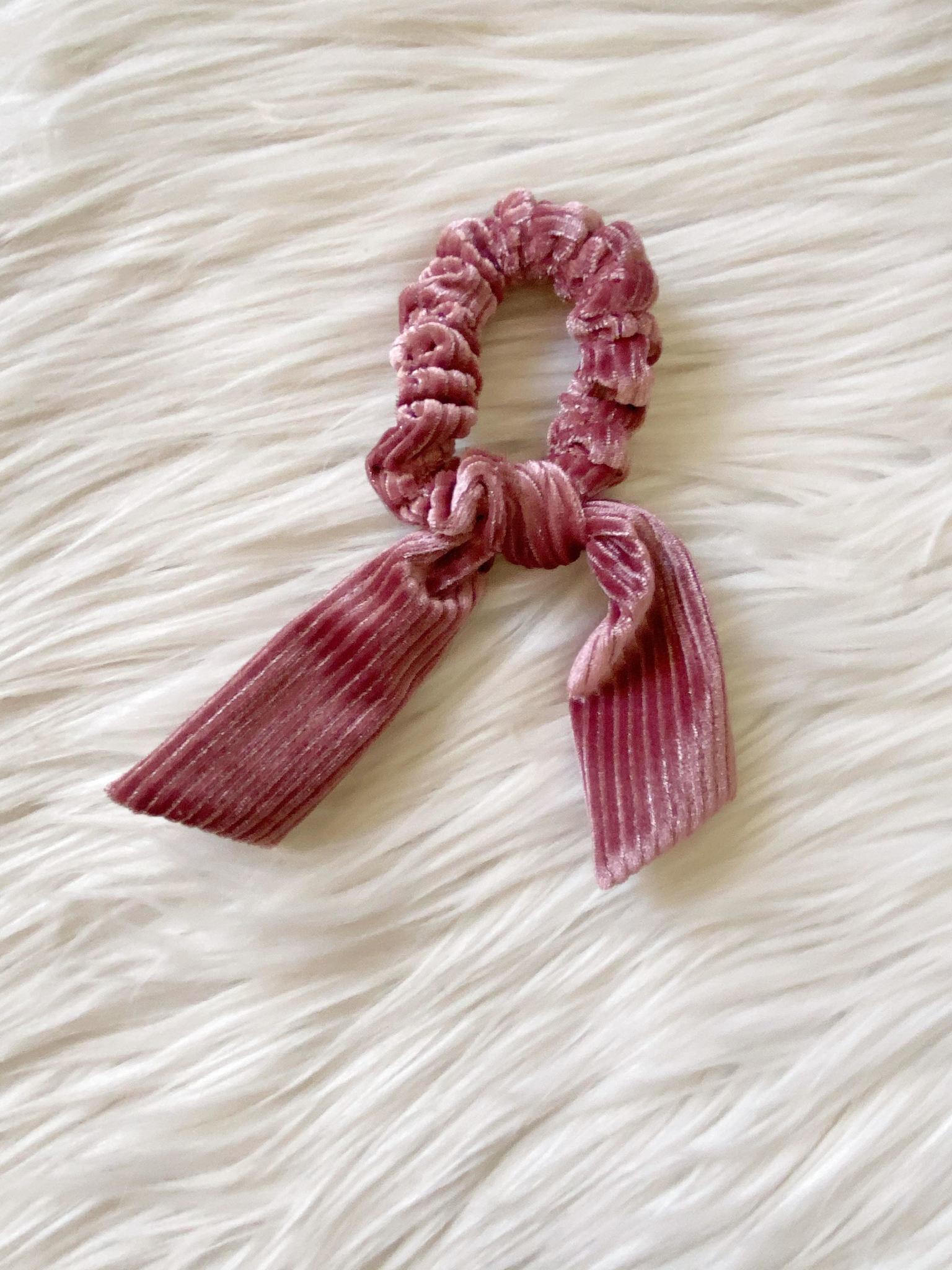 Mauve Shimmer Velvet Tie Scrunchie