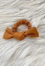 Pumpkin Linen Bow Scrunchie
