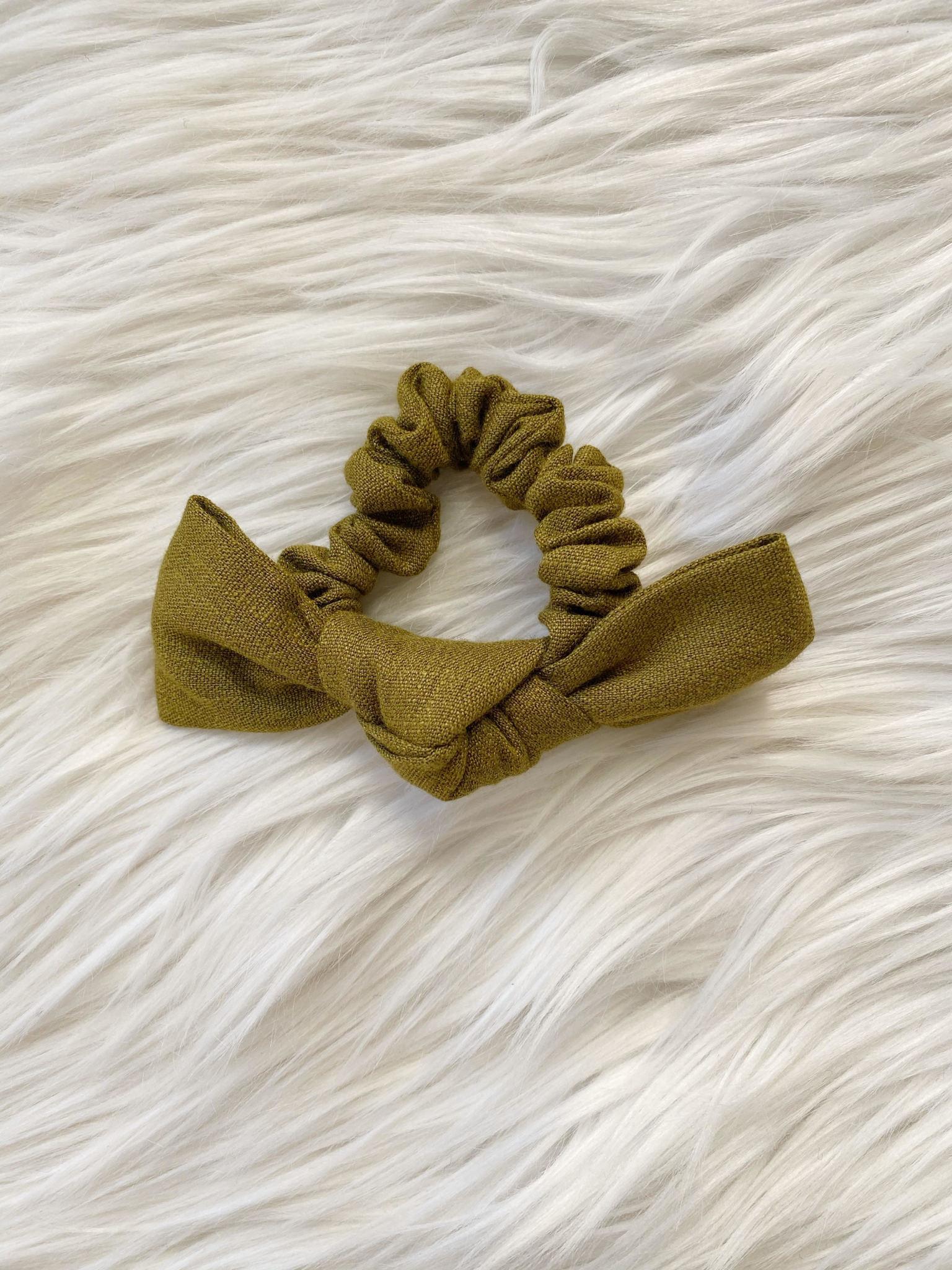 Olive Linen Bow Scrunchie