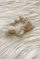 Checkered Linen Bow Scrunchie