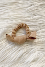 Tan Linen Bow Scrunchie