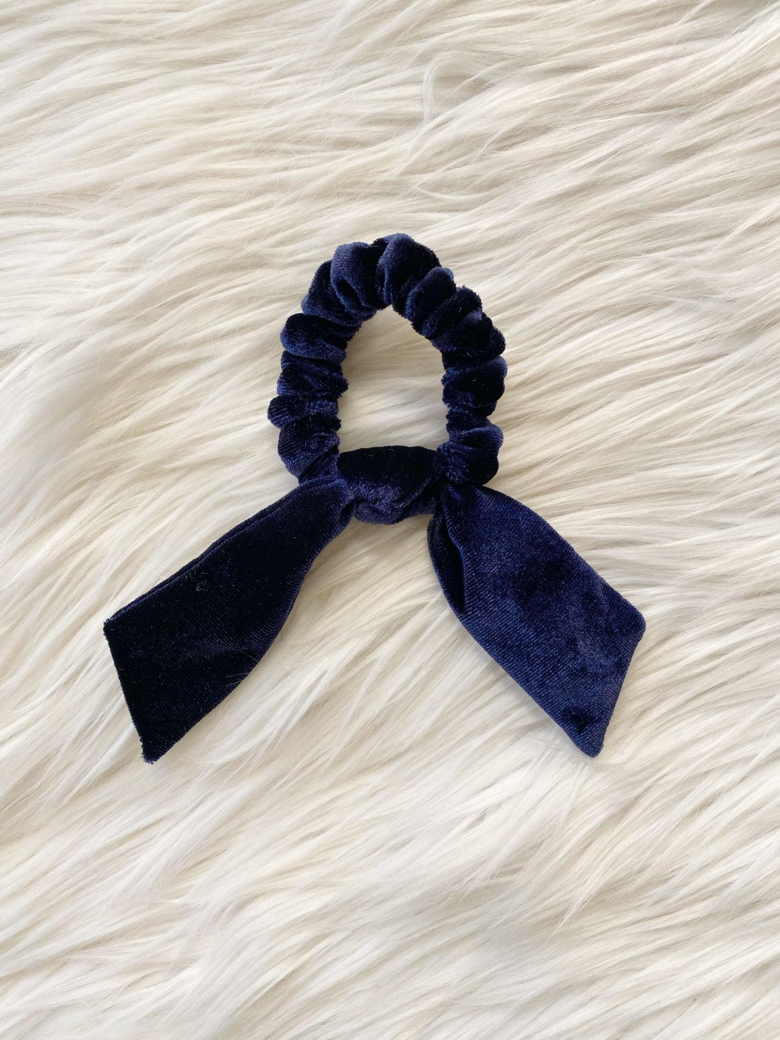 Navy Velvet Tie Scrunchie