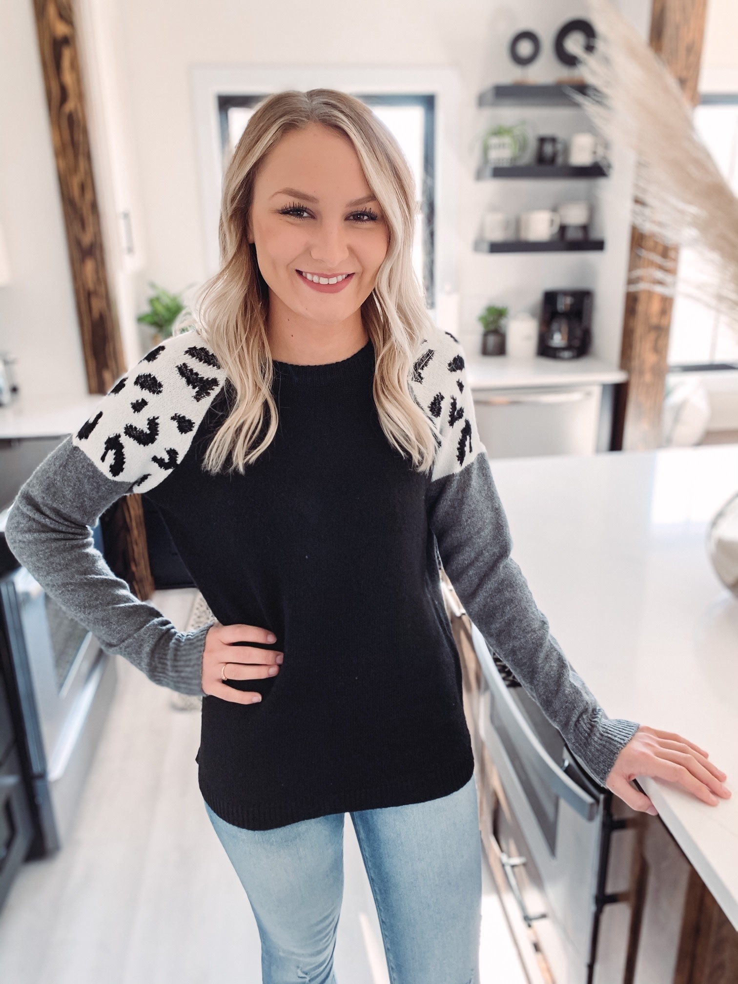 Charcoal Leopard Sweater
