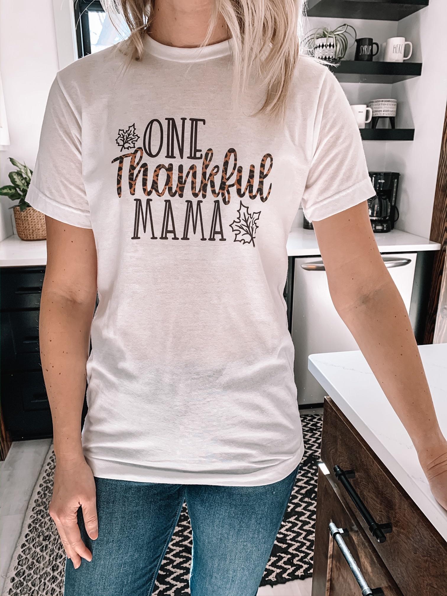"""One Thankful Mama"" Leopard Tee"