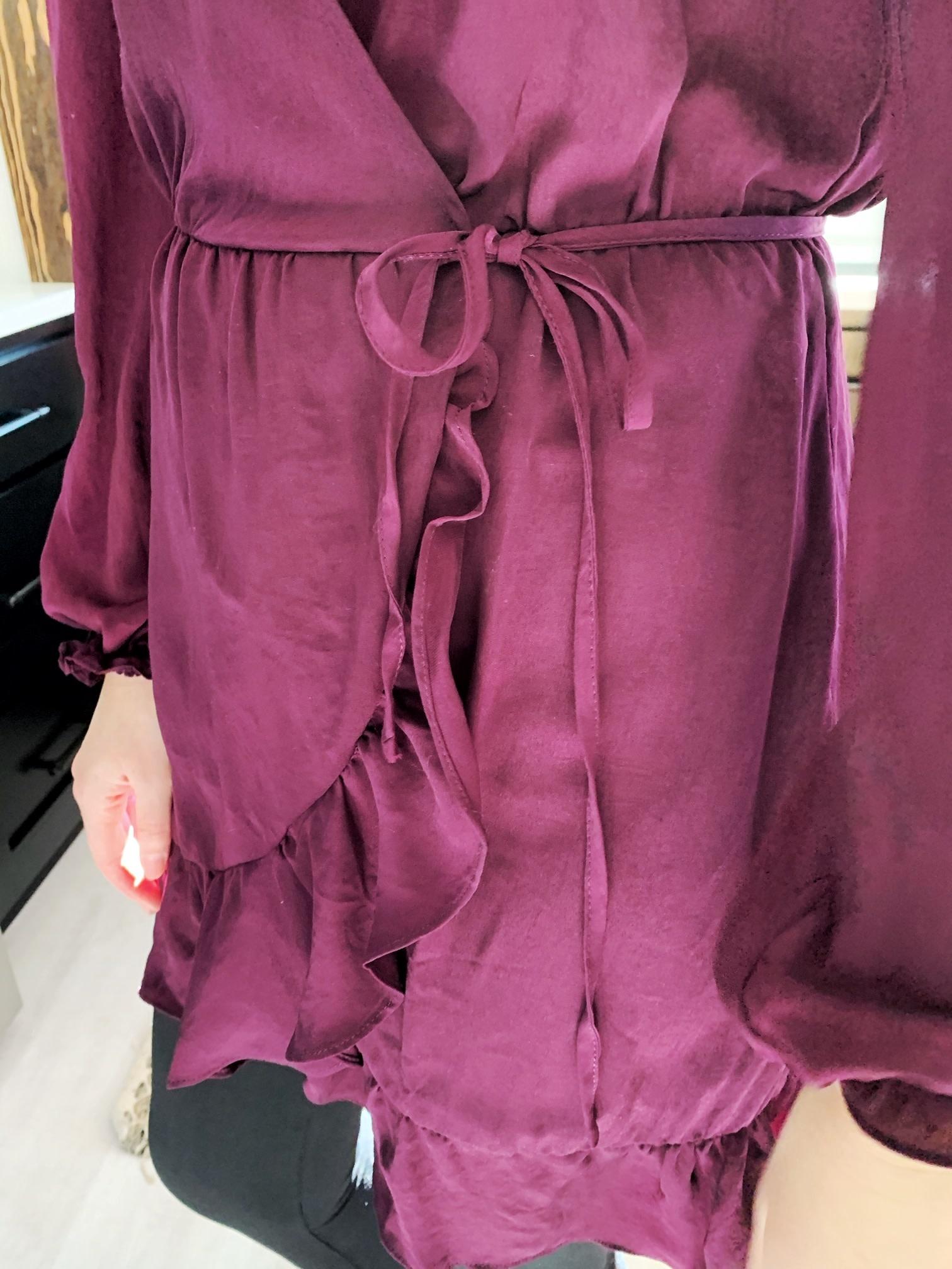 Nyah Merlot Wrap Dress