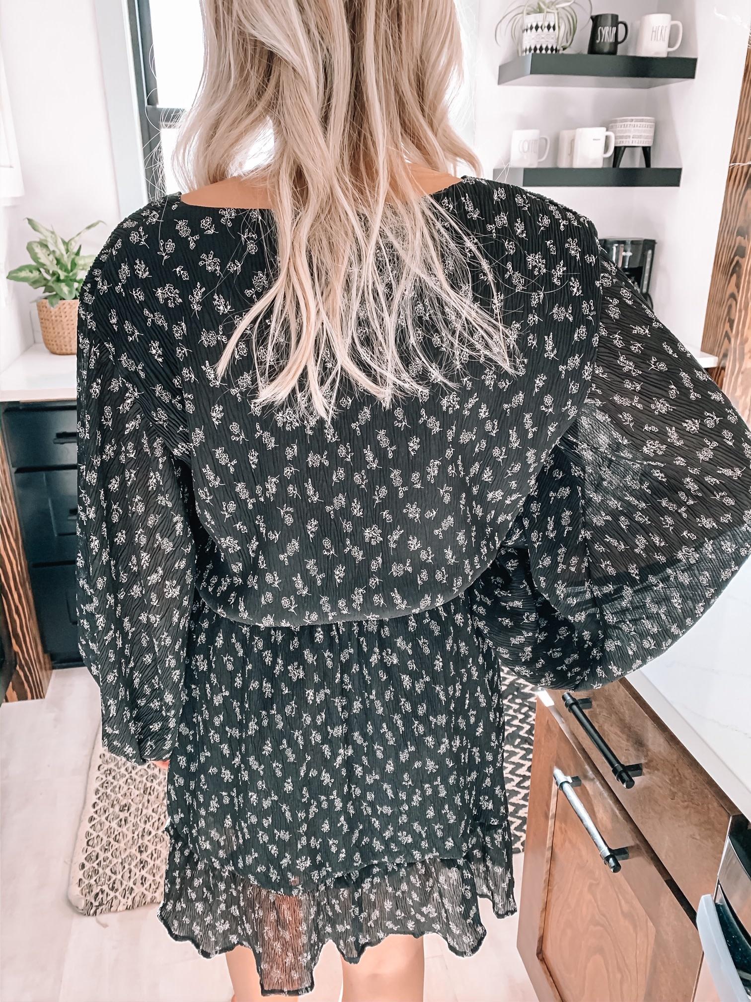 Adele Black Floral Dress