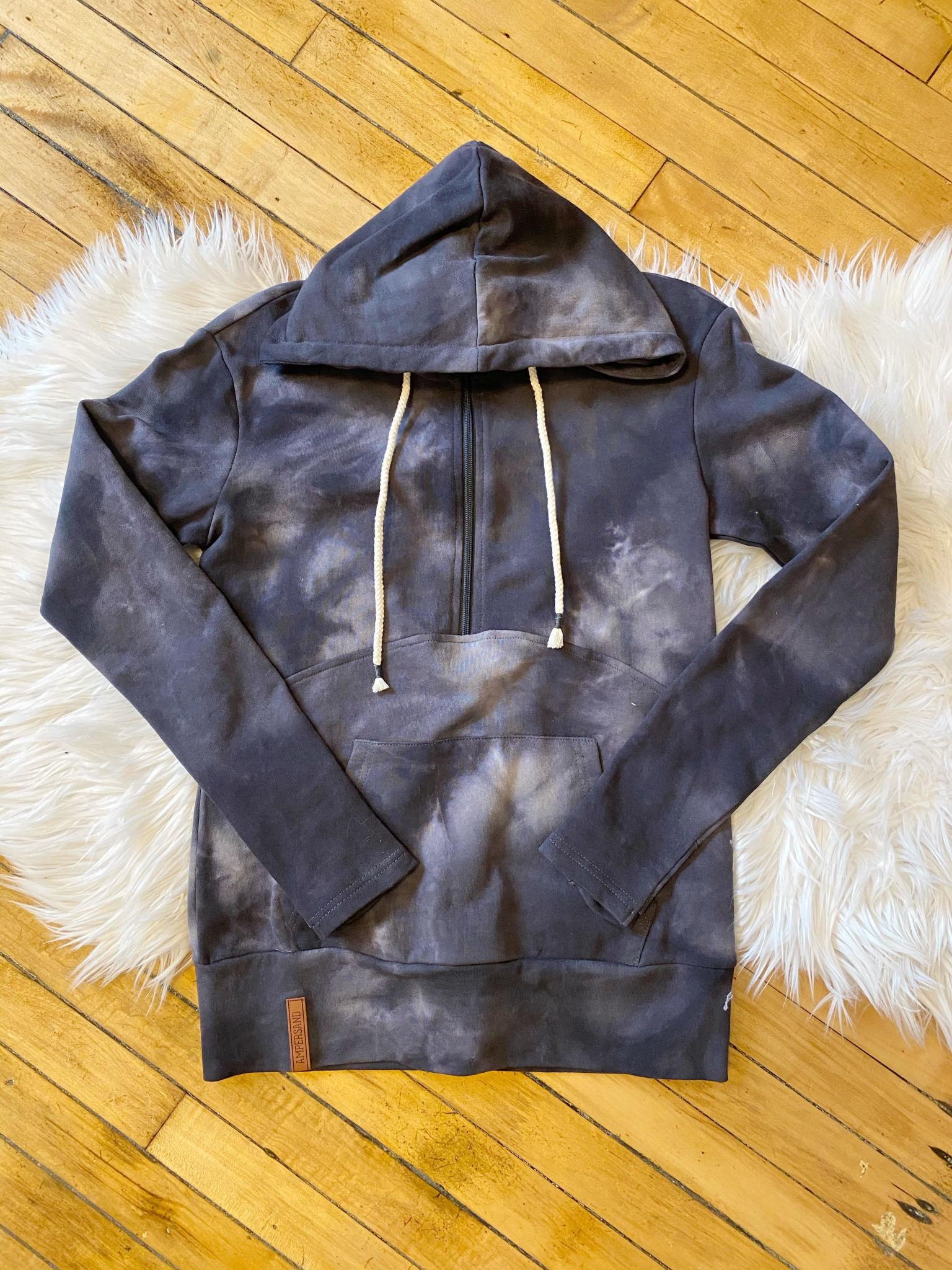 Charcoal Tie Dye Half Zip Hoodie