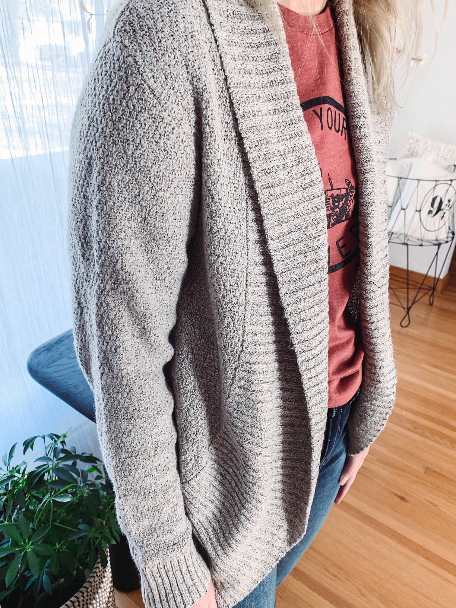 Taupe Ribbed Cardigan