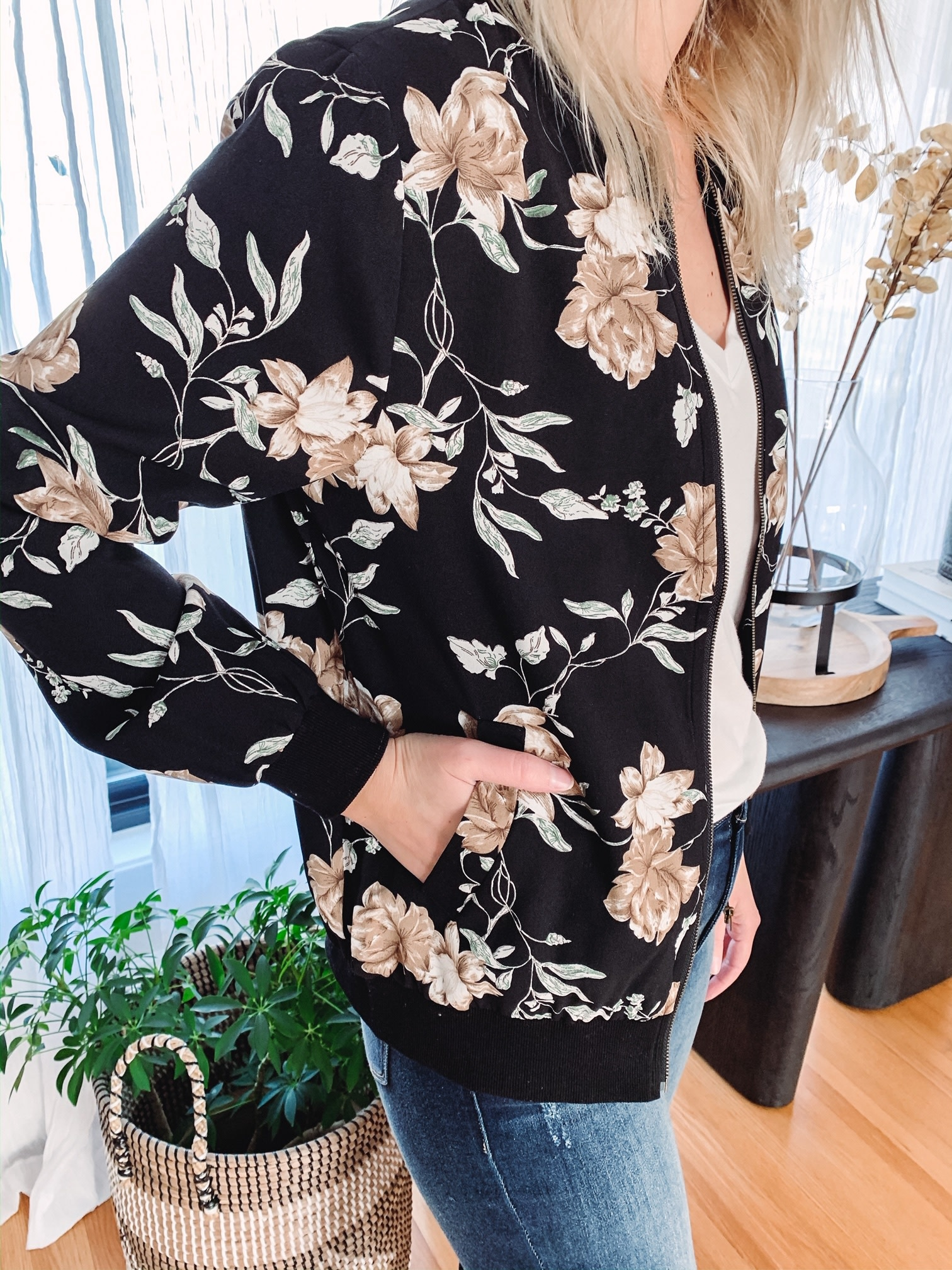 Stay With Me Floral Bomber Jacket