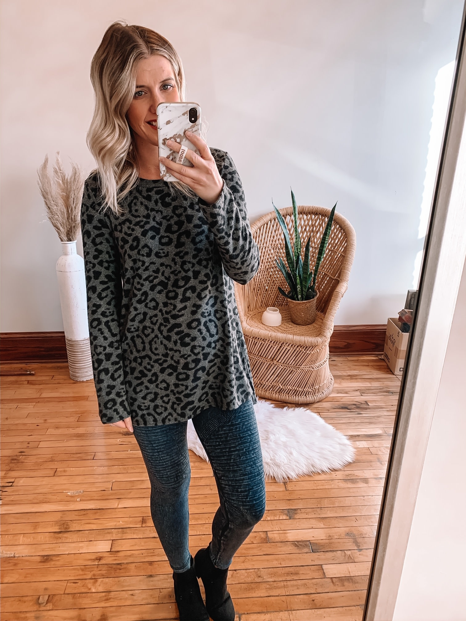 Charcoal Cashmere Leopard Long Sleeve